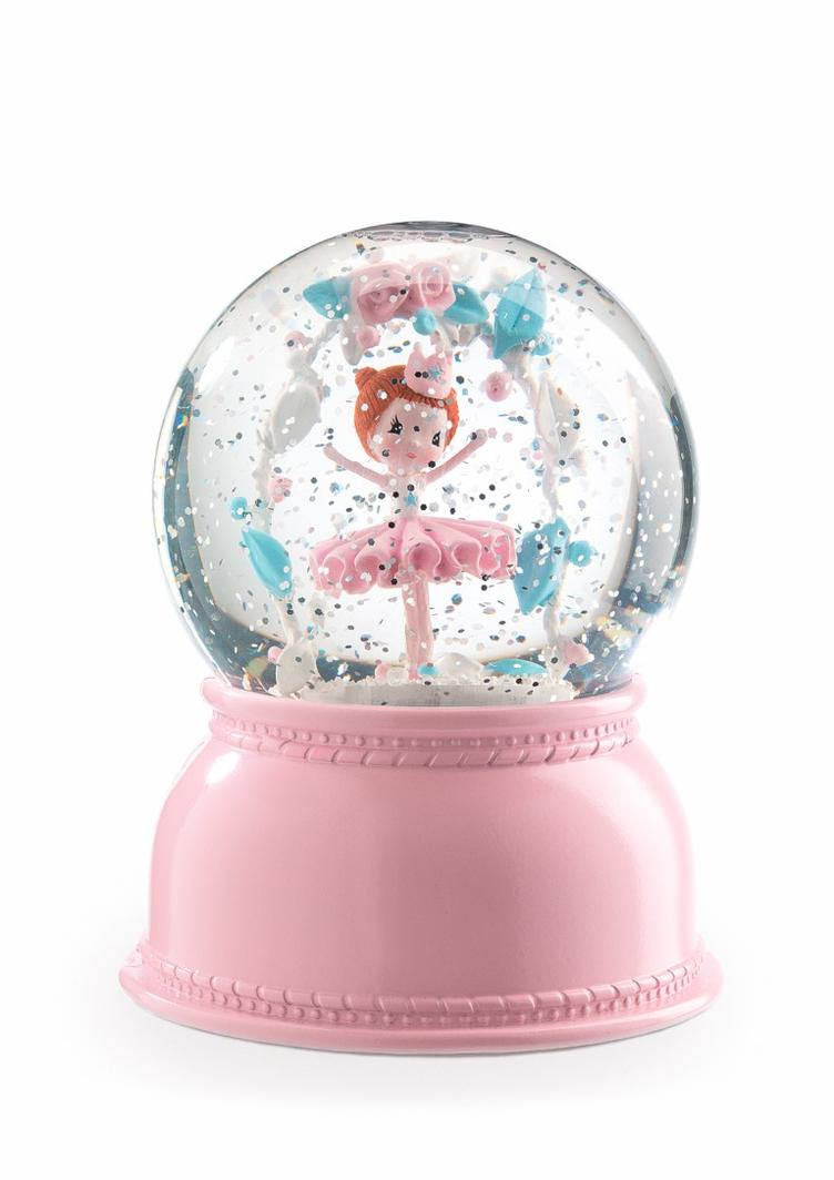 ballerina night light snow dome, pink