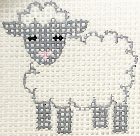 Blue & White Lamb With Stitch Guide