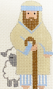Blue & White Shepherd With Lamb With Stitch Guide