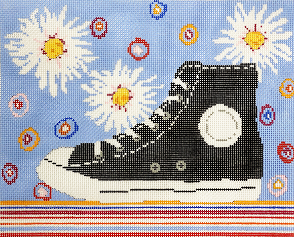 Sneaker with White Blooms