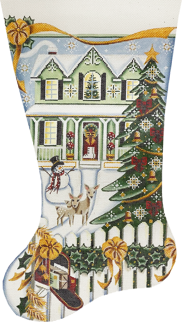 Snowy Green Home Stocking