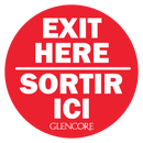 GLENCORE EXIT HERE DECAL RED