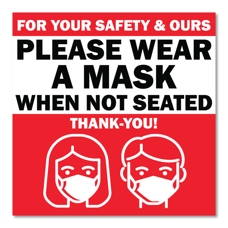 Please Wear A Mask When Not Seated Sign