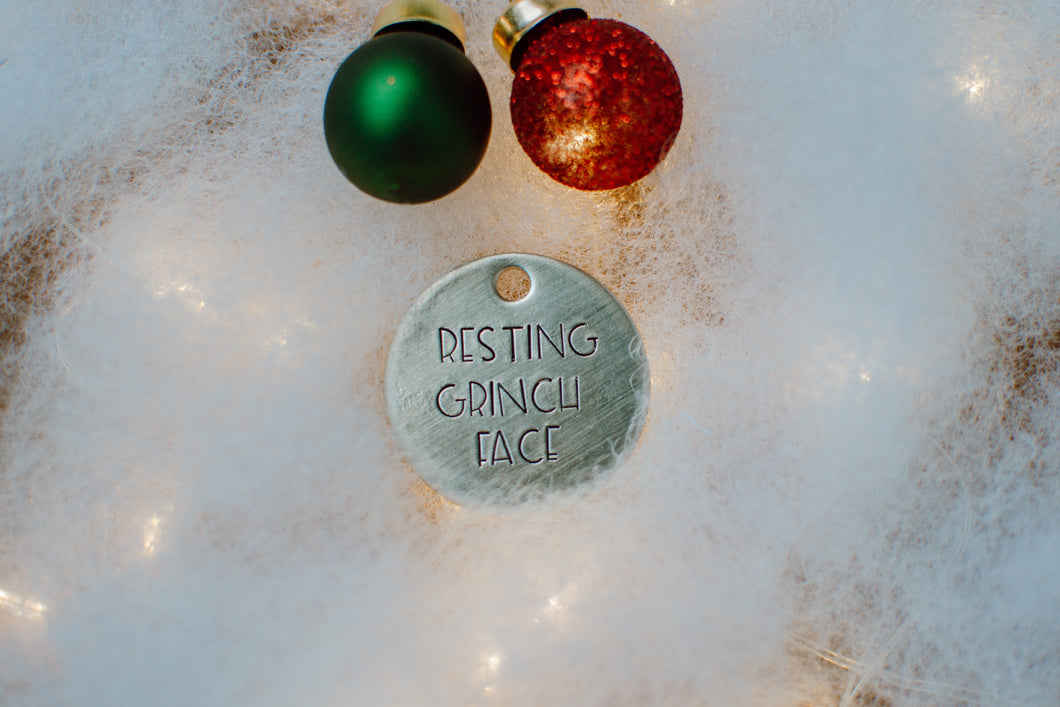 Resting Grinch Face ID Tag