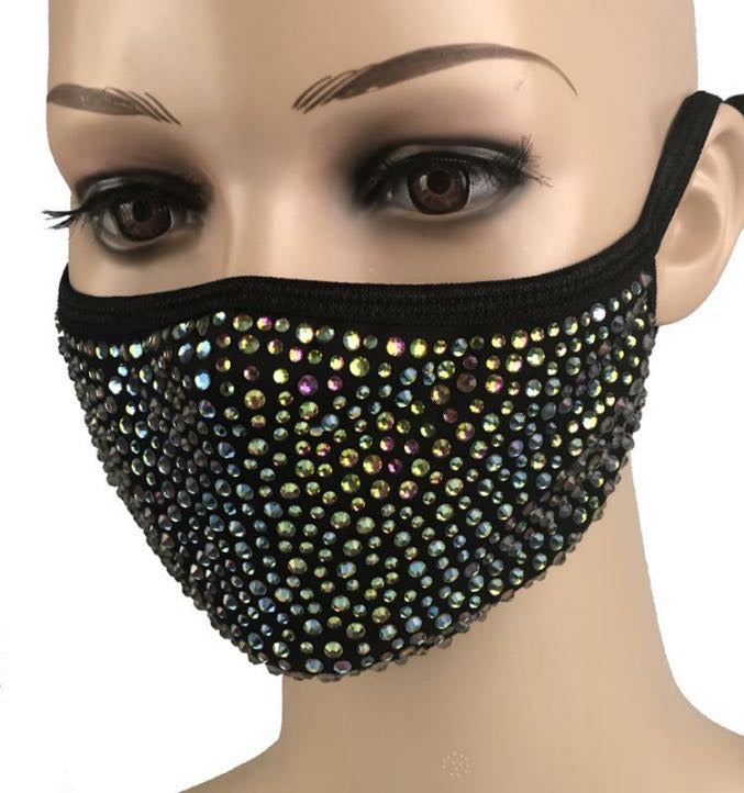 Rhinestone Face Mask - Black-Pink