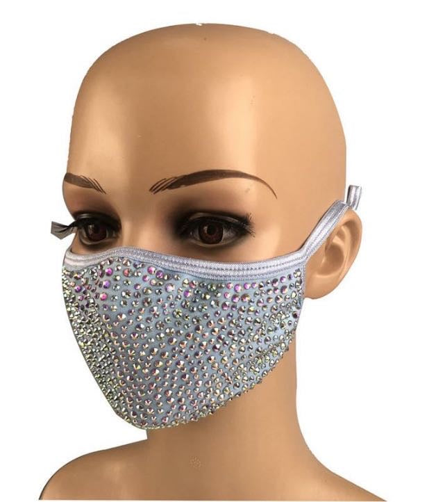 Rhinestone Face Mask - Blue