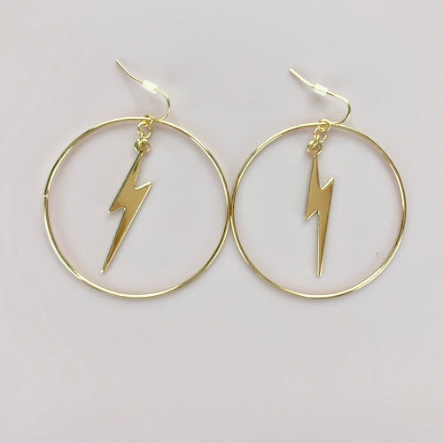 Gold Earrings with Bolt in center