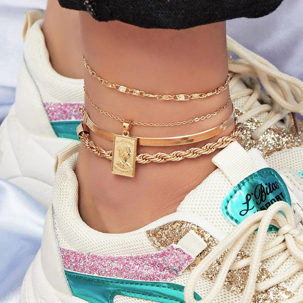 Multi-layer ankle bracelet set