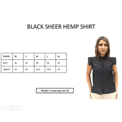 Foxxy's Black Sheer Hemp Shirt - FOXXY COUTURE PRIVATE LIMITED - hempistani