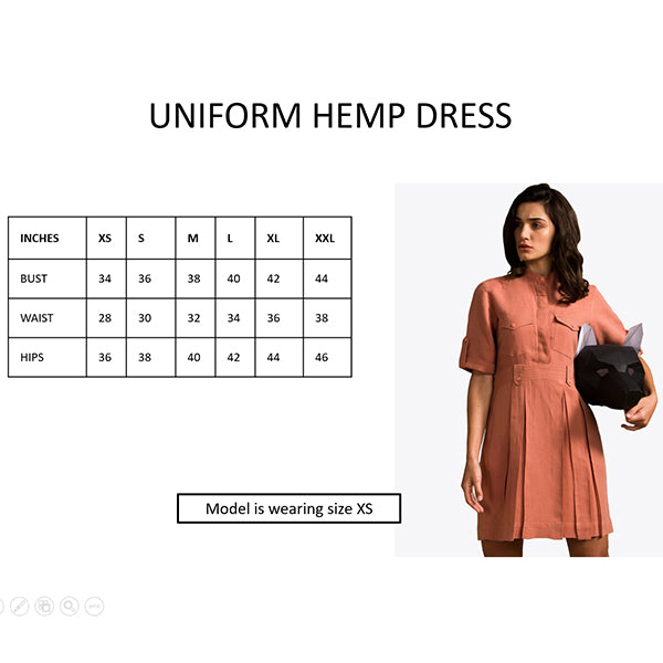 Foxxy's Uniform Hemp Dress - FOXXY COUTURE PRIVATE LIMITED - hempistani
