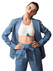 Foxxy's Bow-Tie High waist Powder Blue Hemp Trousers - FOXXY COUTURE PRIVATE LIMITED - hempistani
