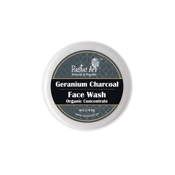 Rustic Art Organic Geranium Charcoal Face Wash Concentrate - Rustic Art - hempistani