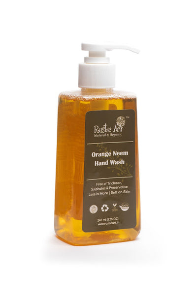 Rustic Art Organic Orange Neem Hand Wash 245ml - Rustic Art - hempistani