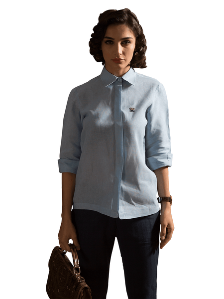 Foxxy's Pastel Blue Hemp Shirt - FOXXY COUTURE PRIVATE LIMITED - hempistani