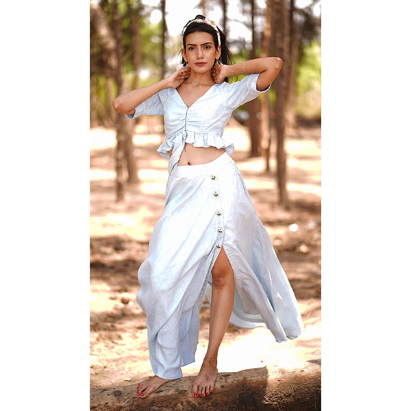 Daoismact's Hemp Blue Marble Dress - Set - Daoismact (CBH India) - hempistani