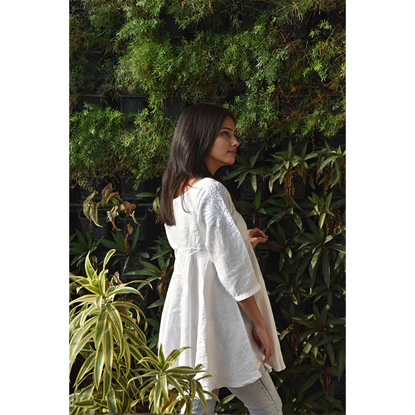 Hempkari's Hemp Tunic - Chic White Embroidered