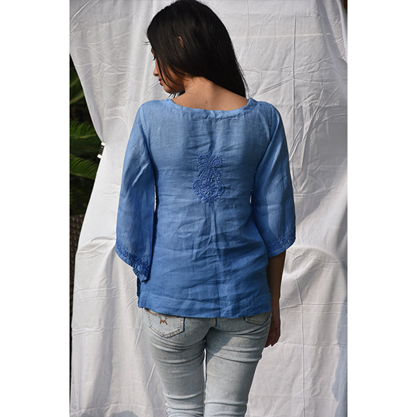 Hempkari's Embroidered Ethnic Casual Hemp Top – Azure Blue