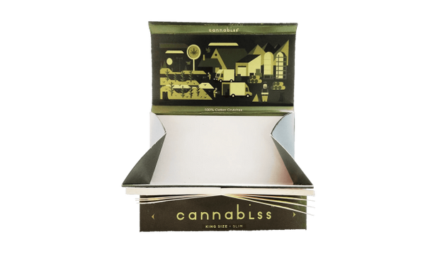 CANNABLISS ROLLING PAPER WITH ROACH TIPS & TRAY BOX