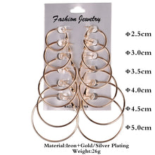 Load image into Gallery viewer, 6 or 12 Pairs of Different Sized Gold or Silver Hoop Earrings