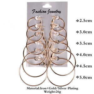 6 or 12 Pairs of Different Sized Gold or Silver Hoop Earrings