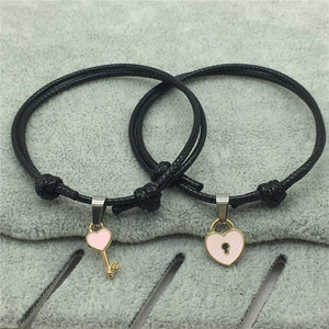 2 Piece Charm Bracelet With Key and Heart Lock