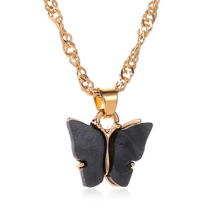 Butterfly Necklace With Gold Snake Chain