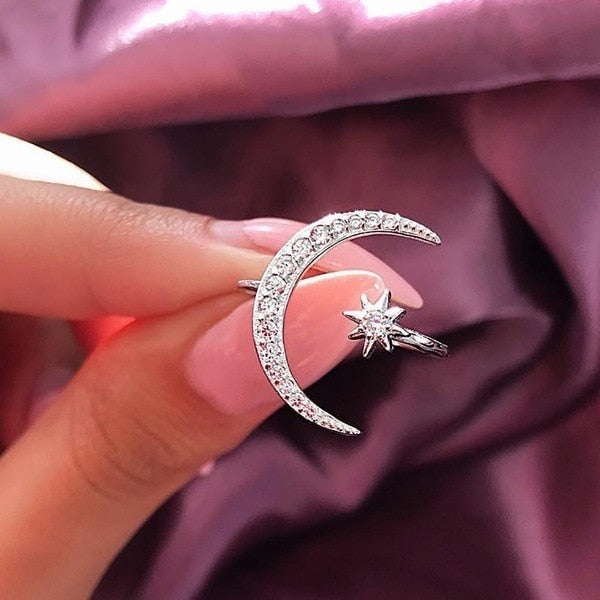 Crystal Crescent Moon Ring