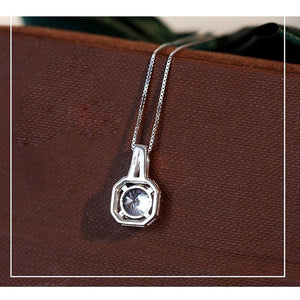 Silver Cubic Pendant Necklace