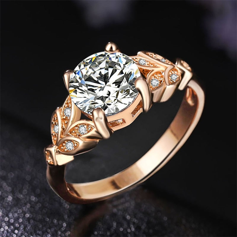 Crystal Silver and Rose Gold Leaf Ring