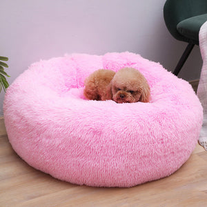 Sleep Luxury Soft Plush Dog Bed Round Shape Sleeping Bag Kennel Cat Puppy Sofa Bed Pet House Winter Warm Beds Cushion Cat Bed