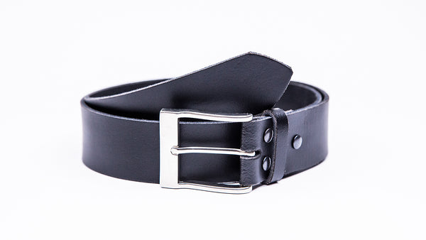 Genuine Black Leather Jeans Belt - Satin Silver Rectangular Buckle