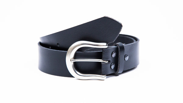 Genuine Black Leather Jeans Belt - Round Satin Silver Buckle - Worldbelts Ltd