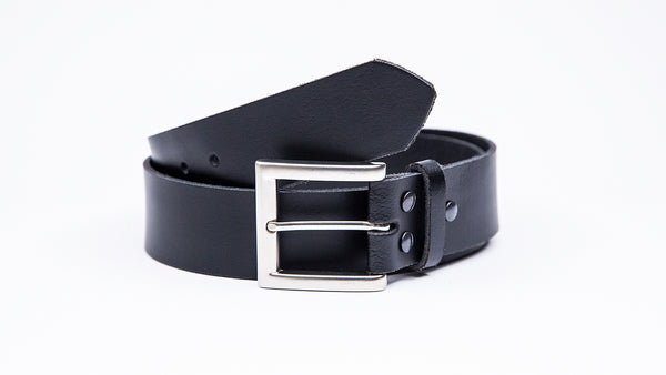 Genuine Black Leather Jeans Belt - Square Satin Silver Buckle - Worldbelts Ltd