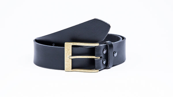Genuine Black Leather Jeans Belt - Rectangular Gold Buckle