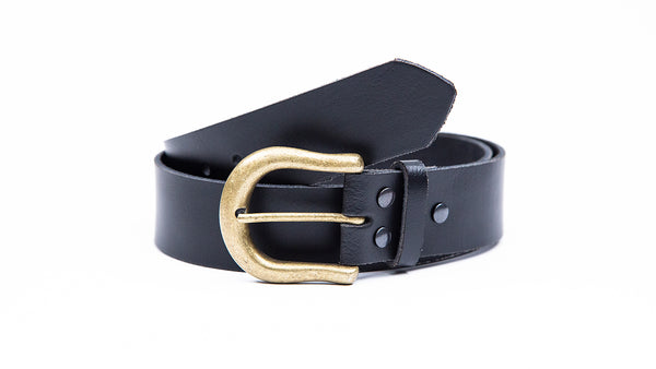 Genuine Black Leather Jeans Belt - Round Gold Buckle - Worldbelts Ltd