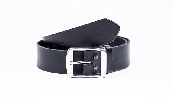 Genuine Black Leather Jeans Belt - Full Satin Silver Buckle - Worldbelts Ltd
