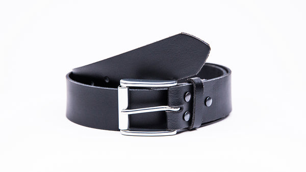 Genuine Black Leather Jeans Belt - Roller Satin Silver Buckle - Worldbelts Ltd