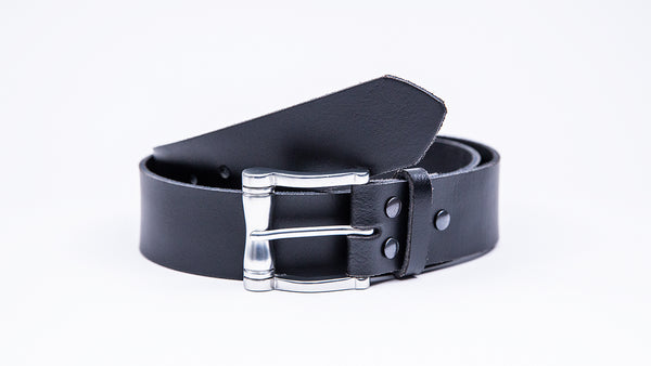 Genuine Black Leather Jeans Belt - Chunky Satin Silver Buckle