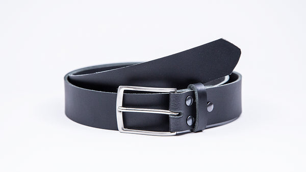 Genuine Black Leather Chinos Belt - Thin Rectangular Chrome Buckle - Worldbelts Ltd
