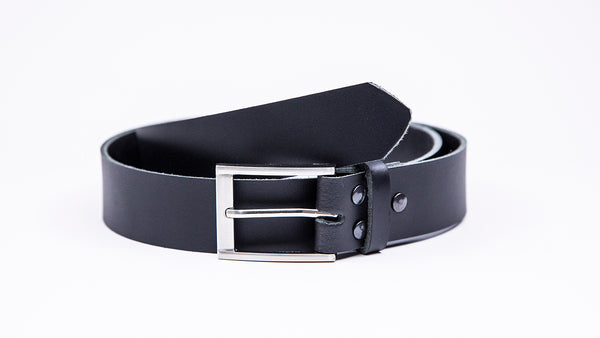 Genuine Black Leather Chinos Belt - Rectangular Chrome Buckle