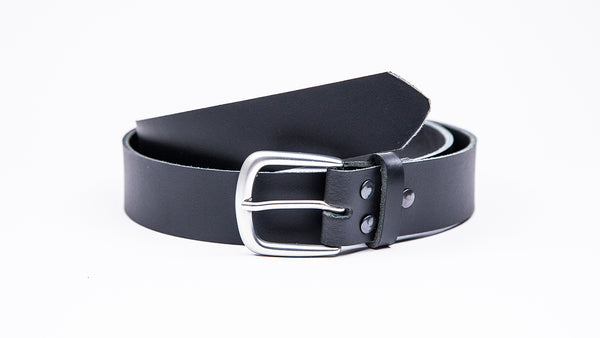 Genuine Black Leather Chinos Belt - Round Satin Silver Buckle - Worldbelts Ltd