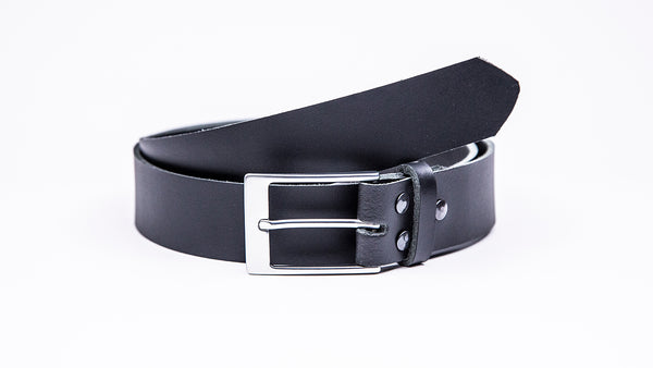 Genuine Black Leather Chinos Belt - Rectangular Satin Silver Buckle - Worldbelts Ltd