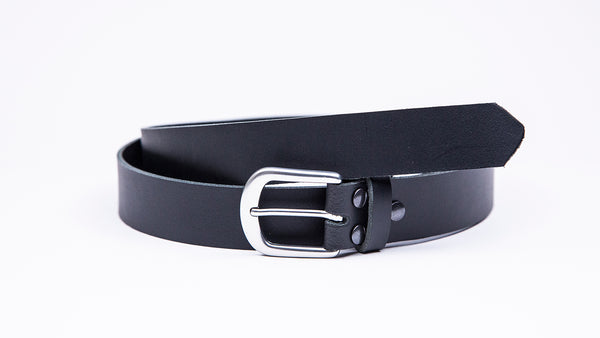 Black Leather Suit Belt - Round Satin Buckle - Worldbelts Ltd