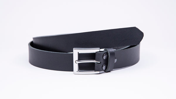Black Leather Suit Belt - Square Satin Buckle