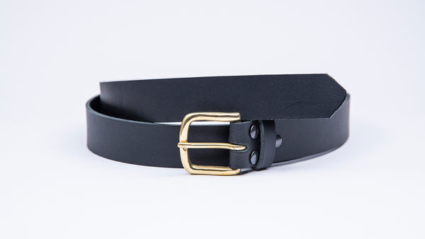 Black Leather Suit Belt - Square Brass Buckle
