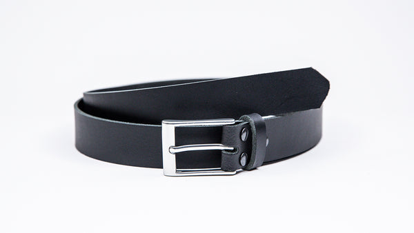 Black Leather Suit Belt - Rectangular Satin Buckle - Worldbelts Ltd
