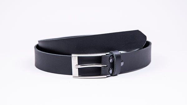 Black Leather Suit Belt - Rectangular Chrome Buckle - Worldbelts Ltd