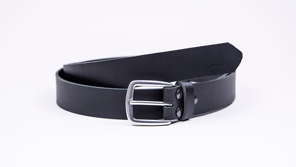 Black Leather Suit Belt - Round/Square Satin Buckle - Worldbelts Ltd