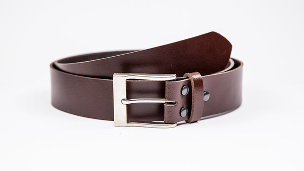 Genuine Dark Brown Leather Jeans Belt - Rectangular Satin Silver Buckle