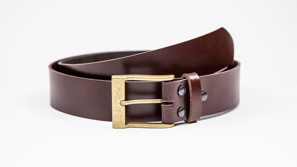 Genuine Dark Brown Leather Jeans Belt - Rectangular Gold Buckle